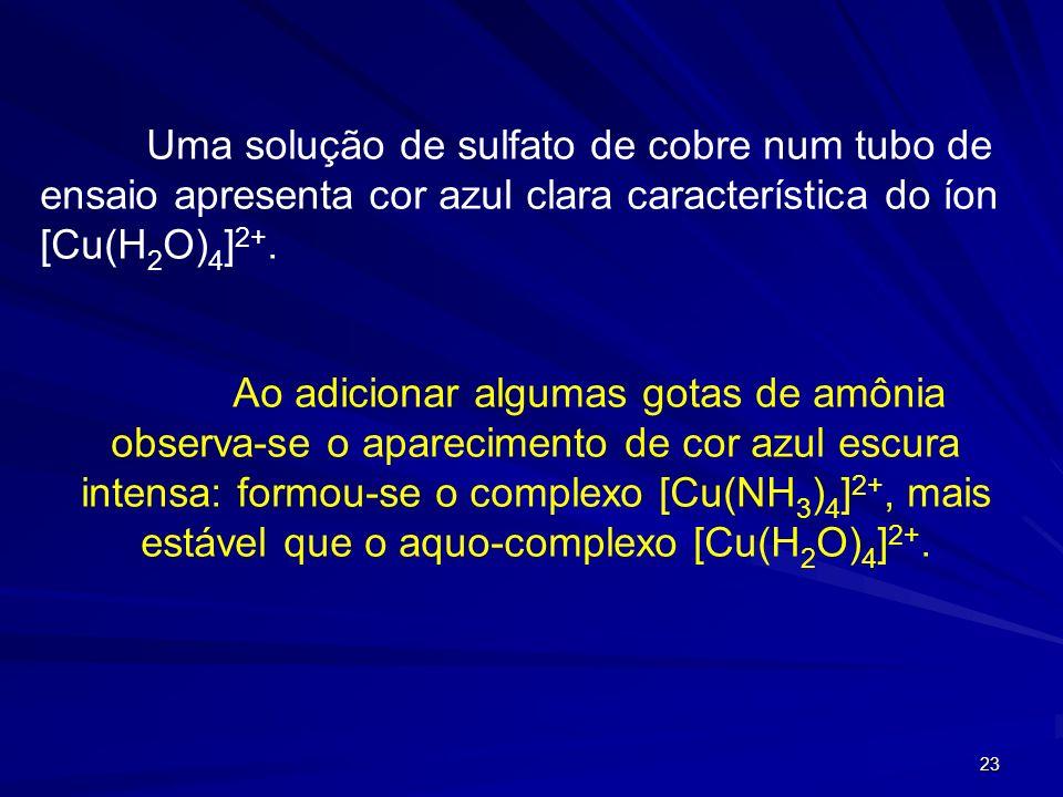 Uma solução de sulfato de cobre num tubo de ensaio apresenta cor azul clara característica do íon [Cu(H2O)4]2+.